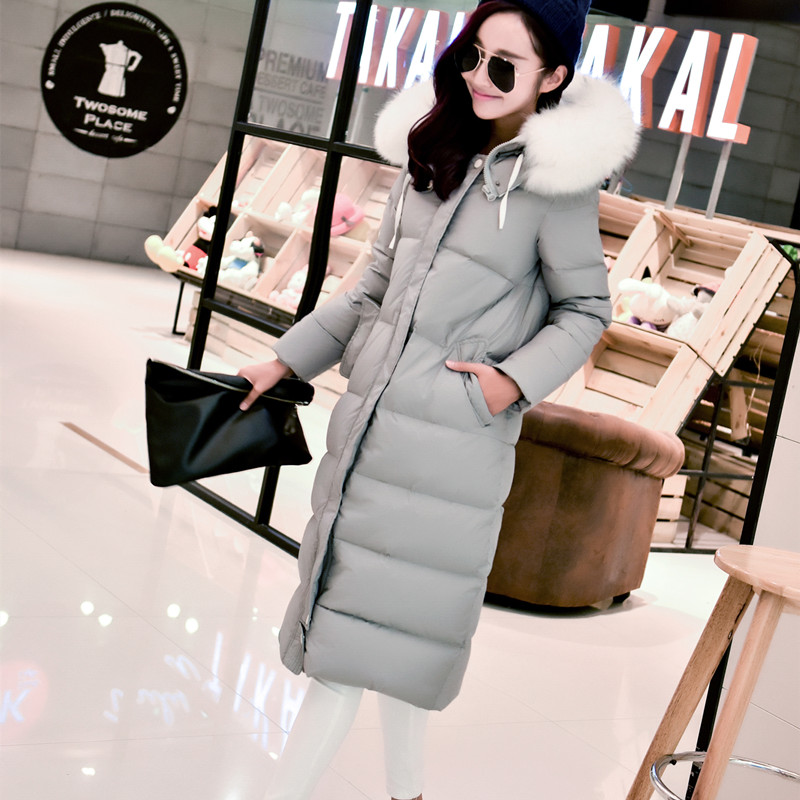 2015 fashion long large fur collar duck down parka coat women new style lengthen thickening plus size swan down jacket snow wear