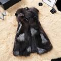 Silver Fox Меховой Жилет Из Натуральной Кожи Шуба Природный Натурального Меха Фокс Жилеты Куртки для Женщин Colete Де Пеле