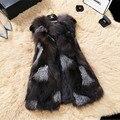 Silver Fox Chaleco de Piel de Cuero Genuino Abrigo de Piel Natural Real de Piel De Zorro Chalecos Chaquetas para Mujeres Colete de Pele