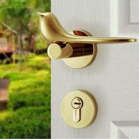 Modern simple Fashion Interior room door lock silver gold Mechanical mute Solid wood bedroom door lock Creative bird handle lock