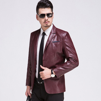 Hot Men's New Suit Sheep Leather Jacket Men Fashion Slim Suit Collar Leather Clothing Male Spring Business Leisure Coats M-3xl