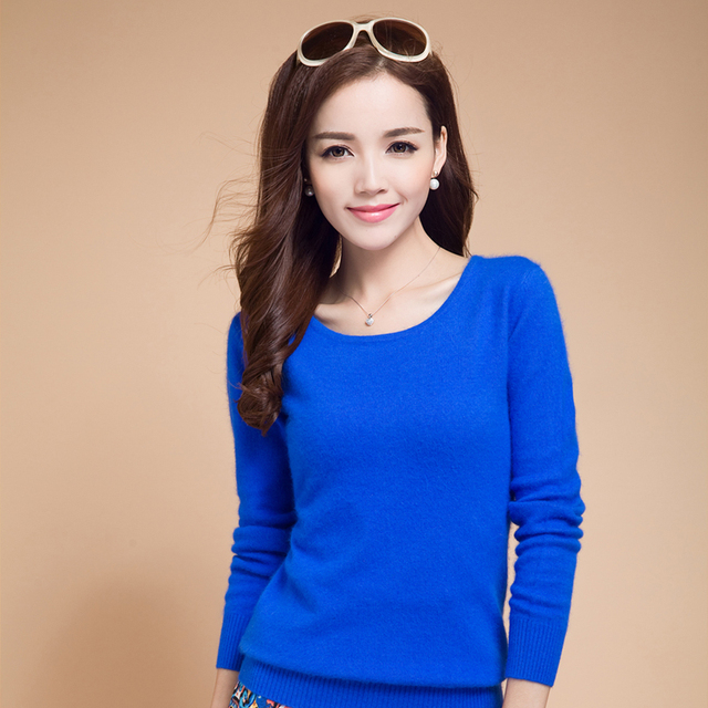 4e0253912e 100% Pure Cashmere Knitted Winter Warm Pullover O-neck Long Sleeve Ladies  sweaters Shirt Wool knitted Female keep Warm