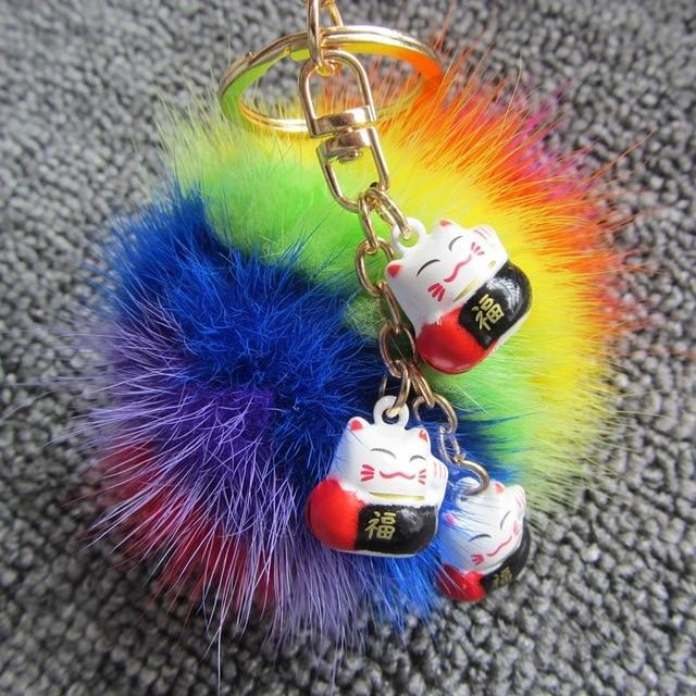 Cute Lucky Cat Bell Key Chain Real Genuine Mink Fur Ball Keychain 8cm Rainbow Colorful Women Bag Charms Key Buckle Key Ring