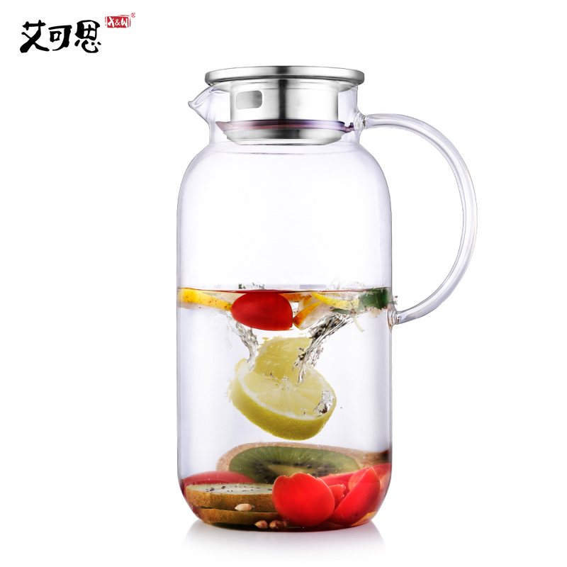 X & W 2500 ml hervidor de agua transparente Borosilicat jarra de agua de vidrio resistencia al calor jugo contenedor con filtro tapa fría drinkware