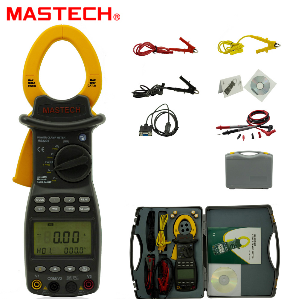 MASTECH MS2205 Digital Power Clamp Meter Three Phase Harmonic Tester with RS232 Interface mastech ms2208 harmonic power factor clamp meter tester multimeter dmm mastech