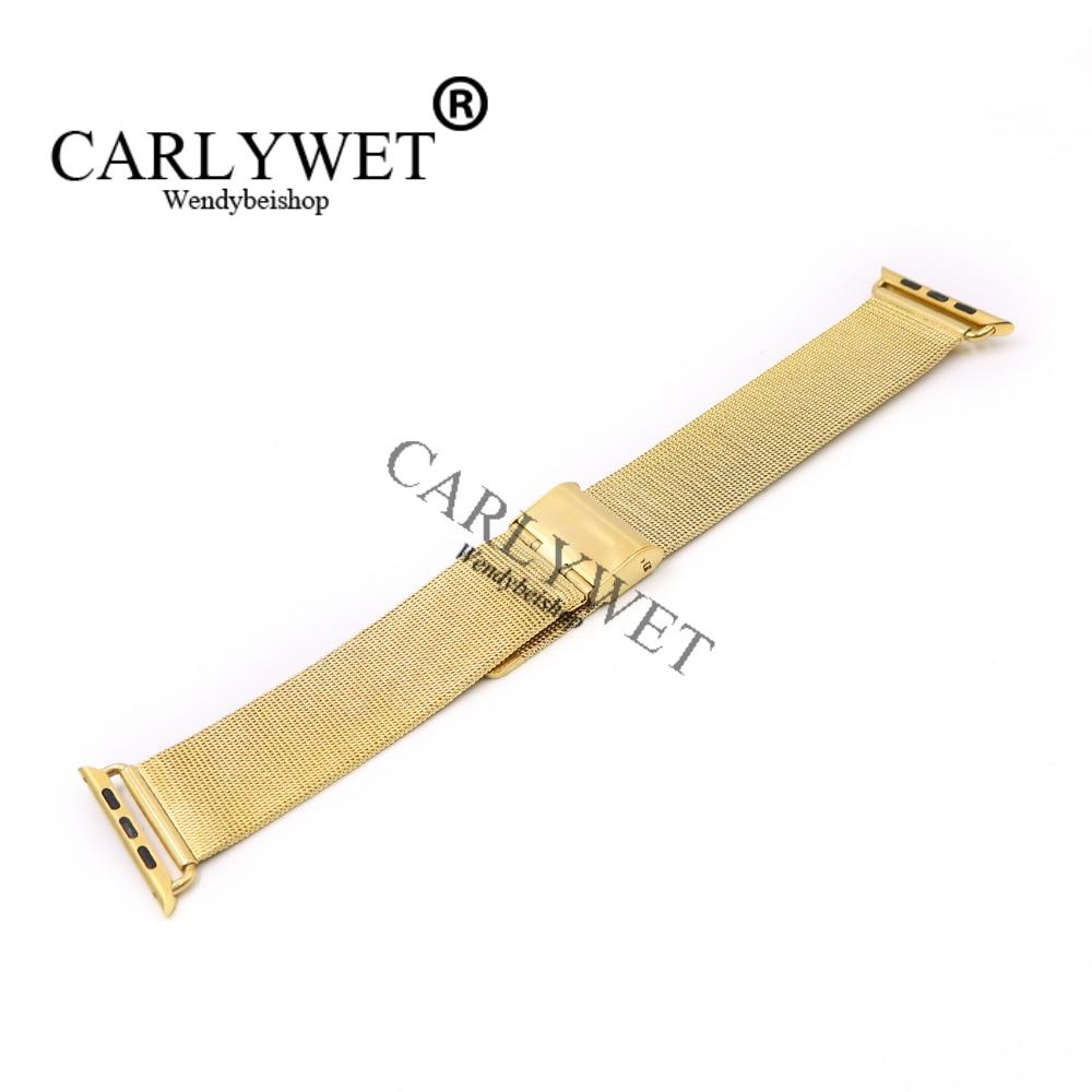 CARLYWET 38 42mm En Gros Connecteur Adaptateur Or Ultra-mince Maille Inoxydable Bracelet En Acier Bracelet Pour Apple Montre iWatch