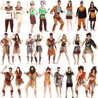 Men Women African Original Indian Savage Costume Wild Cosplay Halloween Carnival Costumes Fancy Dress Party Decoration