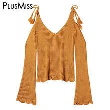 dc5e0f1a8f PlusMiss Plus Size 3XL XXXL Off Shoulder Knitting Pullovers Female Knitted  Sweater Women Pull Femme Jumper Big Size Autumn 2018