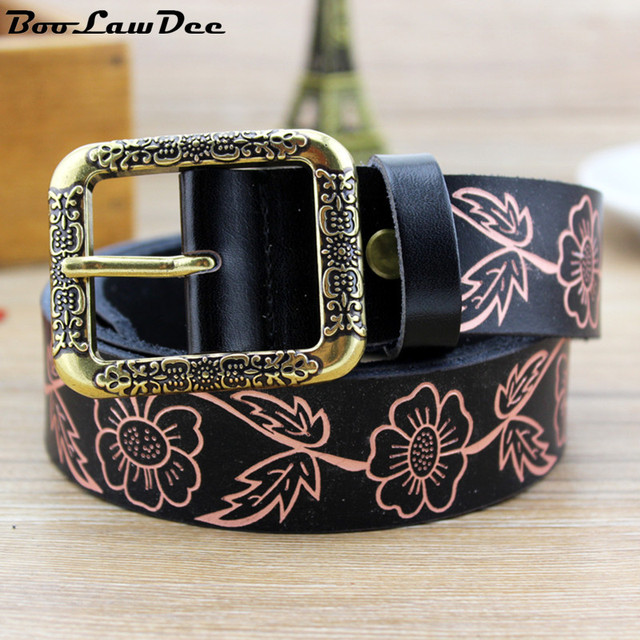 BooLawDee promotion women floral pattern cowskin belt pin buckle 3.2cm width 110cm length black red white beige yellow 8C053