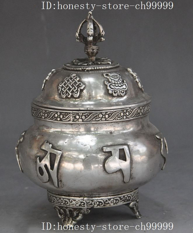 christmas Tibet buddhism silver Phurpa Auspicious Eight treasures incense burner Censer halloweenchristmas Tibet buddhism silver Phurpa Auspicious Eight treasures incense burner Censer halloween