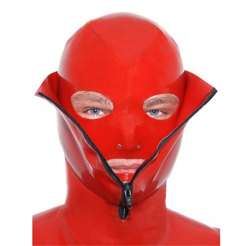 Sexy Red Latex Bondage Mask Hoods Nature Latex Fetish Hood -2347