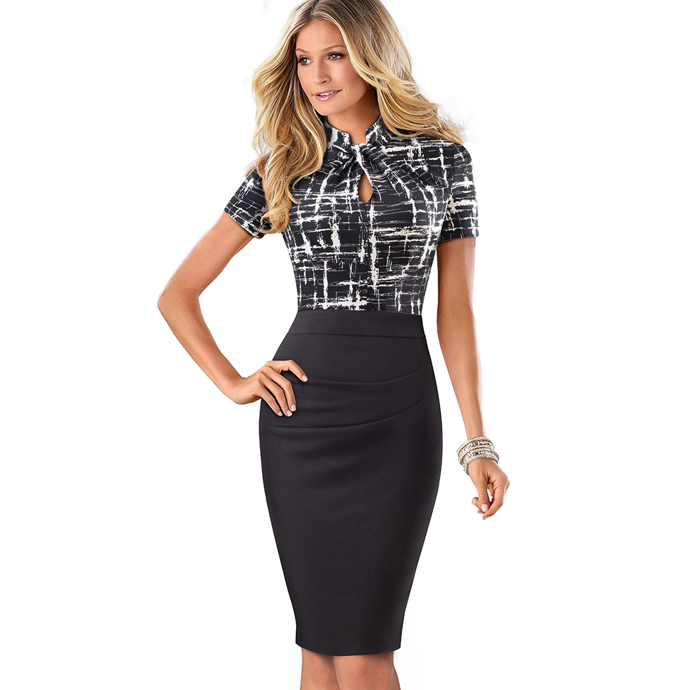 Elegant Work Office Business Drapped Contrasting Bodycon Slim Pencil Lady Dress Women Sexy Front Key Hole Summer Dress EB430 41