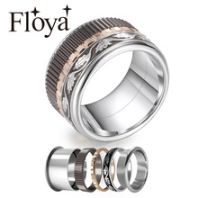 Cremo Wedding Ring Black Leaves Silver Band Stainless Steel Gear Interchangeable Fidget Meditation Exquisite Filled