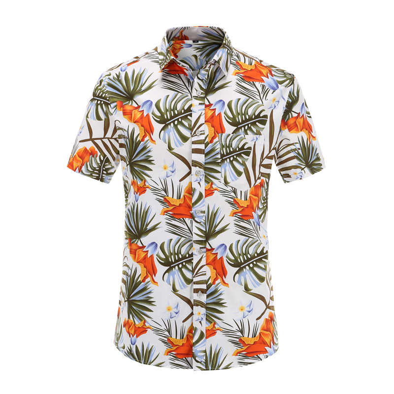 Мужская Летняя Пляжная гавайская рубашка, новинка 2019, брендовые рубашки с коротким рукавом, большие размеры, рубашки с цветочным принтом, мужская повседневная праздничная одежда для отдыха 3XL
