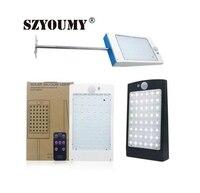 Szyoumy 태양 광 조명 원격 컨트롤러와 야외 48 led 벽 태양 모션 센서 빛 무선 방수 보안 램프