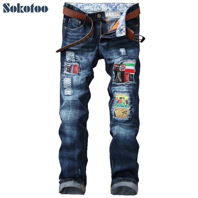 Sokotoo Men's fashion badge patch hole ripped jeans Slim straight washed denim pants Long trousers jeans womens 2017 spring korean fashion vintage badge ripped blue denim pants trousers long pencil pants jeans femme b67