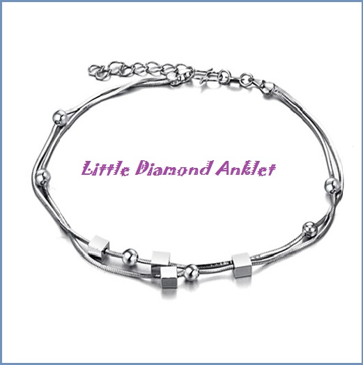 Trendy Little Block Indian Anklet Bracelet Foot Chain, 925 Silver Anklets for Women Foot Jewelry Chaine Cheville Argent Ankle