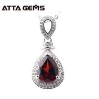 Natural Garnet Sterling Silver Pendants For Women S925 Fine Jewelry Design 3 Carats Garnet January Birthstone Wedding Birthday