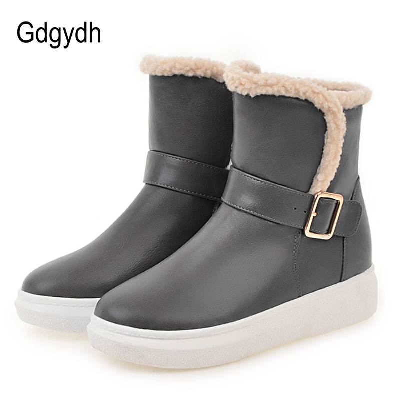 Gdgydh Fashion Buckle Winter Boots Women 2017 New Arrival Plush Inside Ankle Boots For Winter Warm Ladies Snow Boots Flat Heels 2016 new arrival ankle boots for women fashion winter shoes warm plush snow boots shoe bowtie women boots polka dot botas mujer