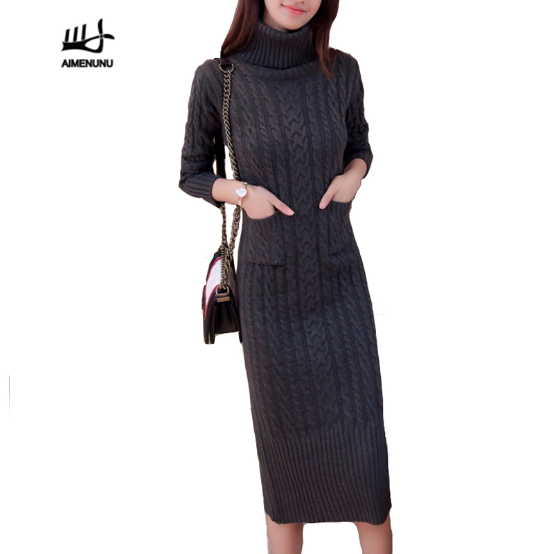 c9d5dec2354 AIMENUNU Women Winter Knit Dresses 2018 Europe Long Sleeve Turtleneck  Casual Slim Warm Maxi Sweater Dress