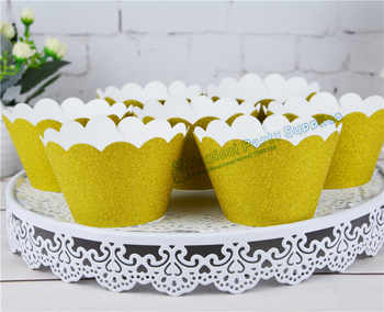 120 pcs Glitter Gold Scalloped Cupcake Wrappers Silver กระดาษ Cupcake Liners กระดาษถ้วยเค้กวันเกิดเค้กตกแต่ง