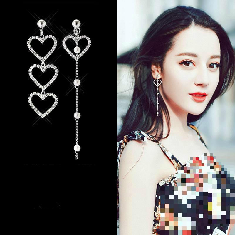 Korean Girl Heart-shaped Asymmetric Earrings Simple Wild Rhinestone Pearl Chain Earrings Jewelry Oorbellen Long Earrings Brincos