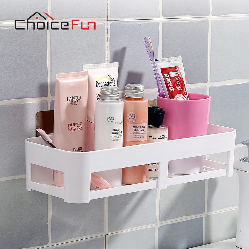 CHOICE FUN Bathroom Shelf Plastic Bathroom Storage Bathroom Wall ...