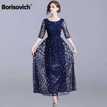 Borisovich 여성 이브닝 파티 긴 드레스 새로운 브랜드 2019 봄 영국 스타일 럭셔리 자수 우아한 숙녀 맥시 드레스 n726