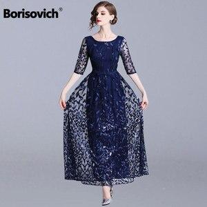 Image 1 - Borisovich 女性イブニングパーティーロングドレス新ブランド 2019 春イングランドスタイルの豪華な刺繍エレガントな女性マキシドレス N726