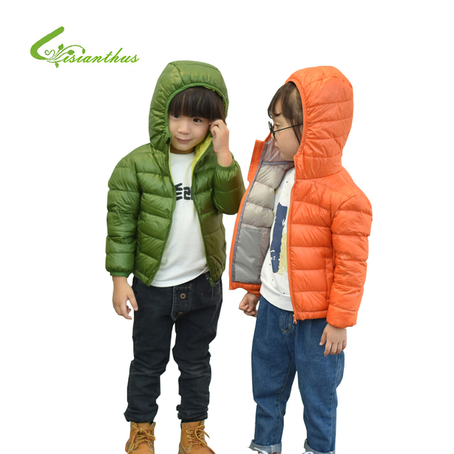 Lisianthus Boys Girls Cotton-padded Zipper Hooded Jackets Thin Short Models Fashion Warm Winter Coats Solid Duck Down Jackets