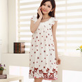 Fahion Summer Style Women Sleepwear Cotton Printed Sexy Sleeping Dress Nightgown For Ladies Women Home Clothes Sleepshirt Female