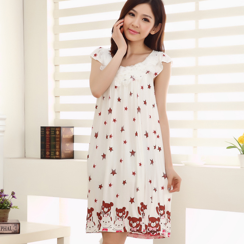 fashion summer style women sleepwear cotton sexy sleeping dress nightgown for ladies women home. Black Bedroom Furniture Sets. Home Design Ideas