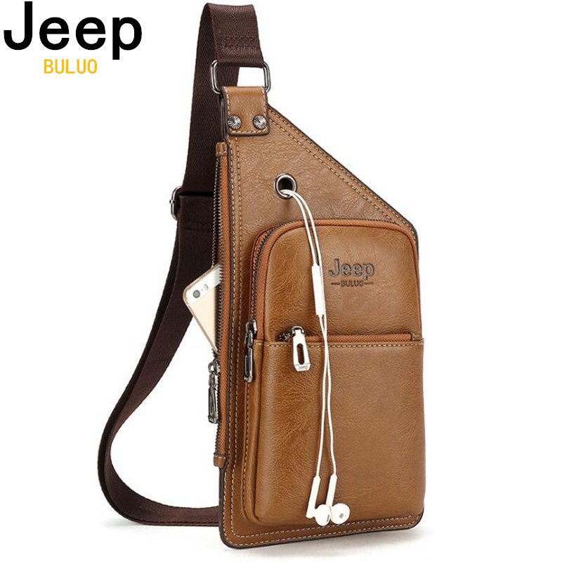 JEEP BULUO Famous Brand Theftproof Split Leather Mens Chest Bags Fashion Outdoor Travel Crossbody Bag Man Messenger Bag 8006 tote bags for work