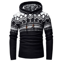 2018 New Print Personality Hooded Men Knit Sweaters Male Sweater Fashion Wild Sweater Pullover For Men Thick And Warm Coat