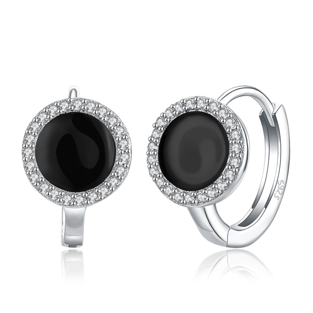 100%S925 LEKANI fashion trend womens sterling silver black zircon popular ear ring foreign trade hot SVE143