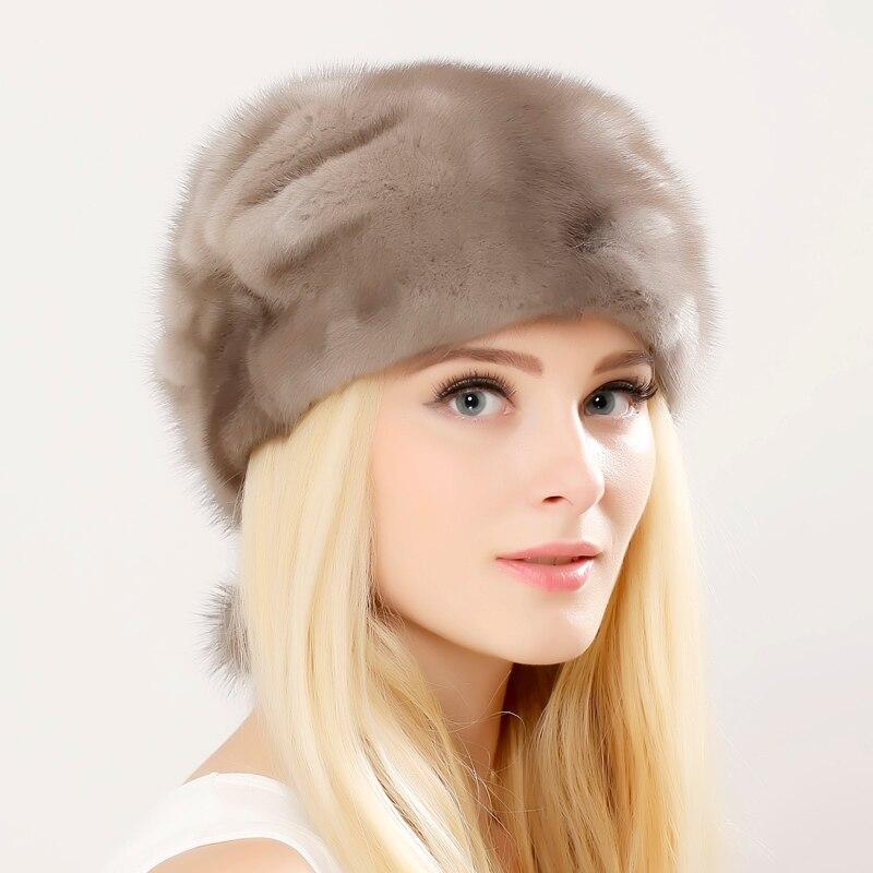 Whole Genuine Mink Fur Hats Female Winter With mink Fur Pompons Elegant Luxury High Quality Ladies Beanie