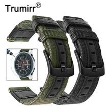 בד ניילון & עור אמיתי רצועת השעון + מסך מגן עבור סמסונג גלקסי שעון 46mm הילוך S3 להקות 22mm להקת רצועת יד