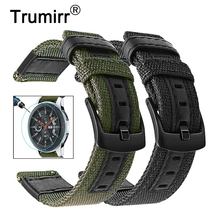 Canvas Nylon & Genuine Leather Watchband + Screen Protector for Samsung Galaxy Watch 46mm Gear S3 Bands 22mm Band Wrist Strap
