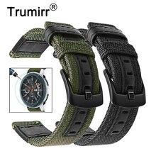 Tuval Naylon ve Hakiki Deri Kordonlu Saat + Ekran Koruyucu için Samsung Galaxy Izle 46mm Dişli S3 Bantları 22mm band Bilek Kayışı