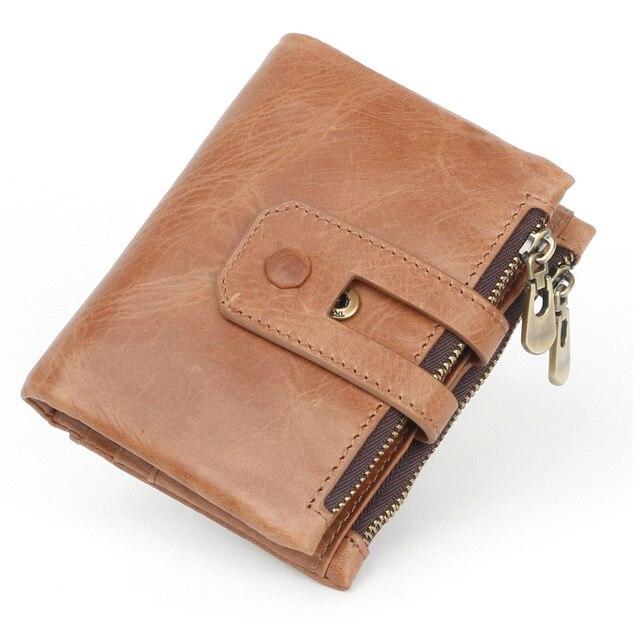 Mode en cuir véritable hommes portefeuille RFID Vintage portefeuilles court marque porte-monnaie porte-carte hommes Portomonee mâle embrayage fermeture à glissière