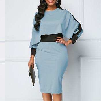 Winter Autumn Dress Women 2019 Casual Plus Size Slim Office Bodycon Dresses Elegant Vintage Sexy Split Patchwork Party Dress 5XL 5