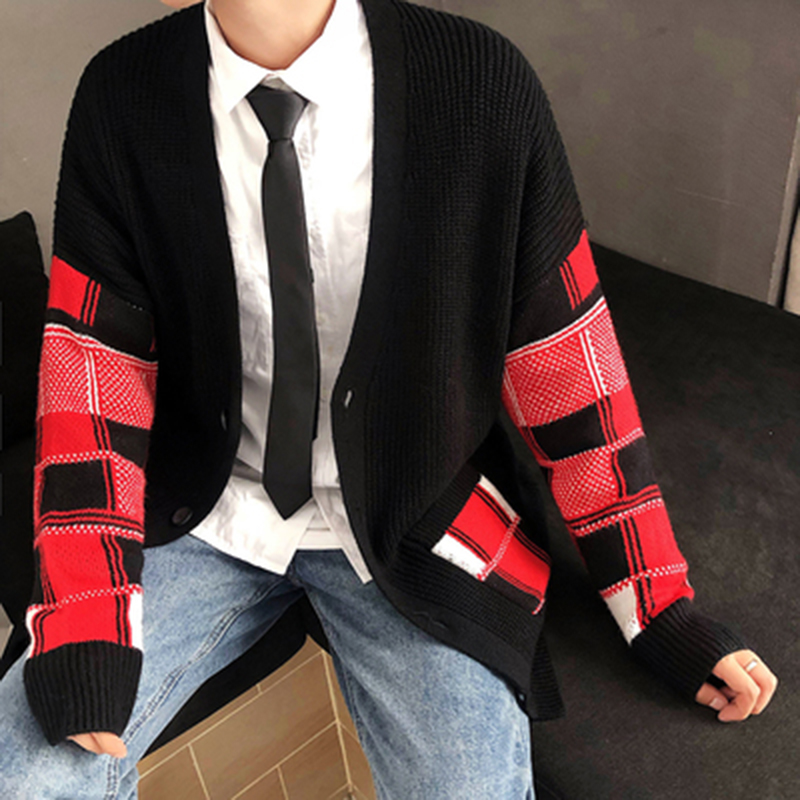 Korean Oversized Sweater Cardigan Men Plaid (2)