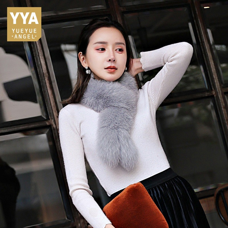 Hot Sale 2019 New Womens Scarf Fashion Solid Real Fox Fur Scarf Female Winter Thick Warm Fur Ring Scarf Cachecol Many Color