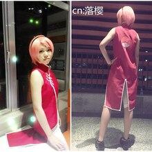 Naruto Cosplay Sakura Haruno Cheongsam Lolita Anime Cosplay Costume Personalizada