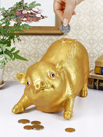 Golden Pig Save Money Box Coin Bank Money Bank Savings Tank Bank Baby Music Toy Storage Tank Pig Piggy Bank Cartoon Anti Fall