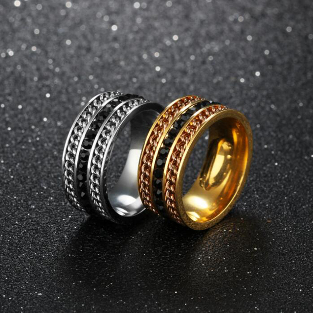 Men S Anium Carbide Three Rows Rhinestone Ring Manly Comfort Fit Design Wedding