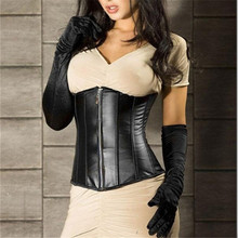 Women Gothic Black Faux Leather Underbust Corset Lingerie Zipper Bustier Steampunk Waist Cincher