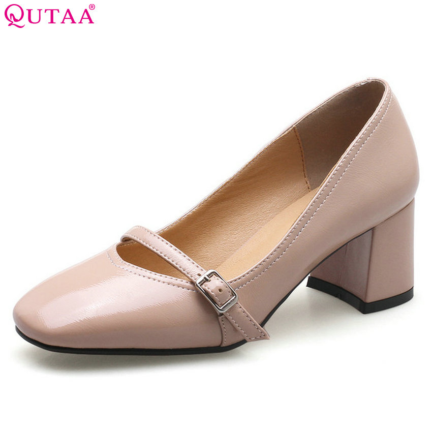 QUTAA 2018 Women Pumps All Match Fashion Women Shoes Pu Leather Square High Heel Square Toe Westr Style Ladies Pumps Size 34-43 women s high heels women pumps sexy bride party square heel square toe rivets high heel shoes