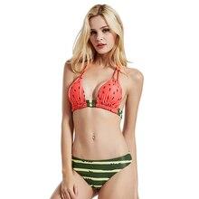 Купить с кэшбэком Bikini 2019 New Arrival Sexy Push Up Biquini Watermelon Style Women Swimsuit Summer Brazilian Mujer High Waisted Bathing Suit
