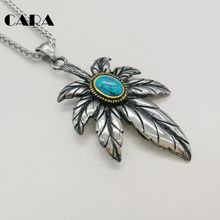 цена New 2 tone vintage 316L stainless steel Maple leaf pendant necklace Natural Blue stone maple leaves hip hop necklace CARA0462 онлайн в 2017 году